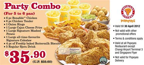 party combo meal coupon popeyes singapore discount