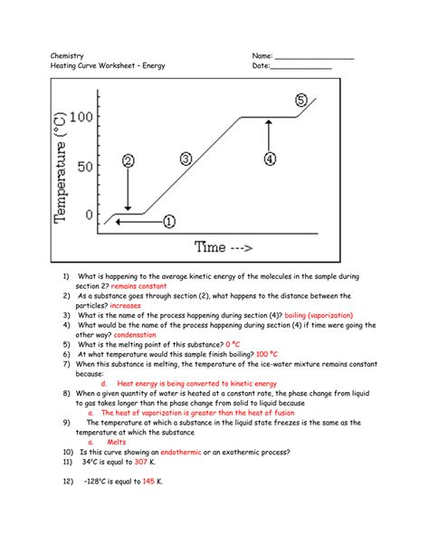 Heating Curves Worksheet  Kidz Activities