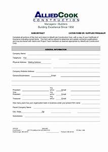 Supplier Invoice Template Subcontractor Supplier Prequalification Form Printable