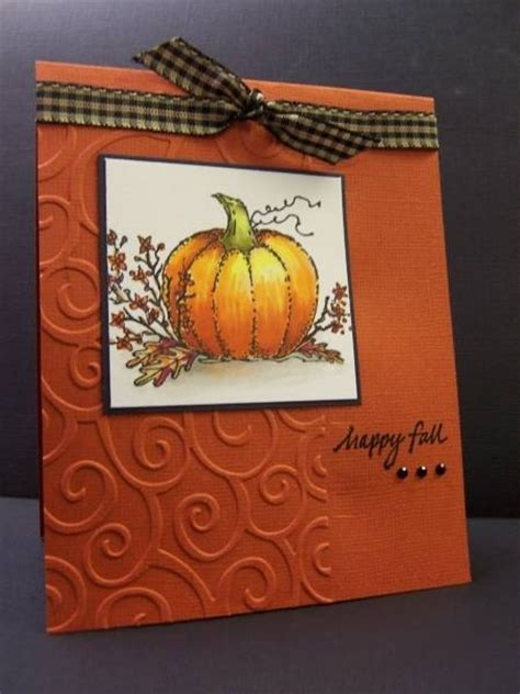 fall card used embossing folder card ideas Pinterest