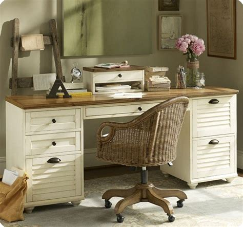 White Desk With Wood Top
