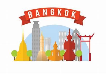 Bangkok Vector Illustration Clipart Landmark Skyline Famous
