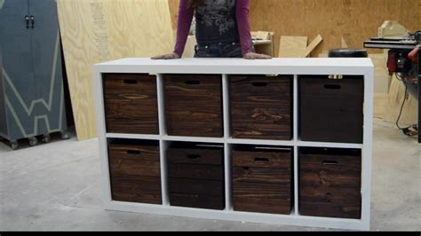 distressed white cabinets diy storage unit with wooden crates