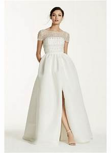 Cap sleeve taffeta ball gown with detachable skirt david for Detachable wedding dress davids bridal