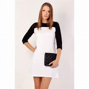 robe courte manches 3 4 blanc noir blanc achat vente t With robe noir manche 3 4