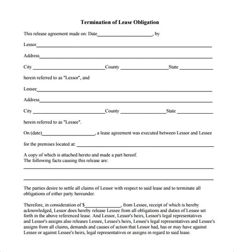 sample lease termination form    documents
