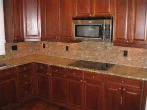 Kitchen Backsplash Ideas Cherry Cabinets by Tile Backsplash With Cherry Cabinets For The Home