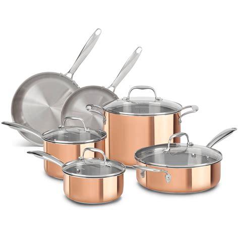 copper chef pan set 7 amazon com kitchenaid kcp12skcp tri ply copper 12