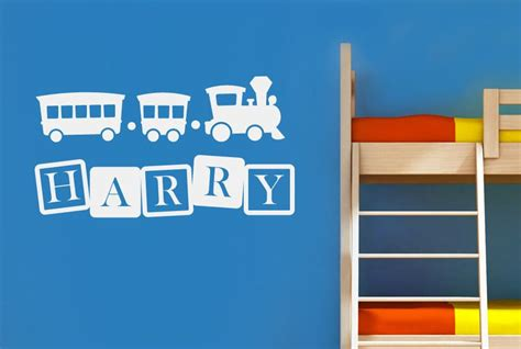Personalised Toy Train & Blocks Kids Room Sign Stickers