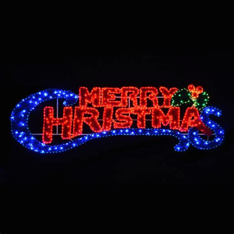 merry christmas lighted sign led flashing blue red light merry christmas sign
