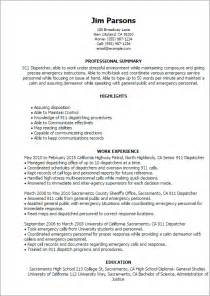 trucking dispatcher resume sles professional 911 dispatcher templates to showcase your talent myperfectresume