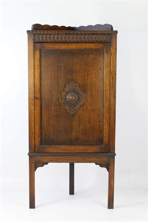 Standing Cupboard by Edwardian Floor Standing Oak Corner Cupboard