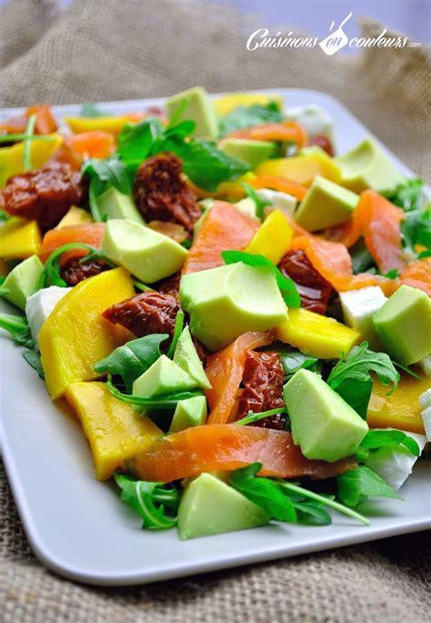 recette de cuisine simple et rapide salade au saumon fumé à la mangue cuisinons en couleurs