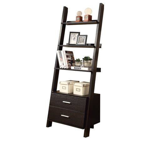 walmart ladder shelf accent 69 quot h ladder bookcase with 2 storage drawers finish