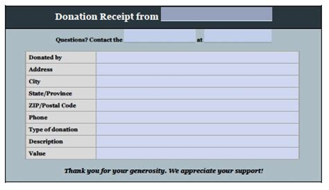 donation invoice template receipt excel