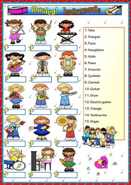 This is an educational video where children can learn more about musical figures and instruments. Musical Instruments Worksheet | Music worksheets, Music classroom, Music activities