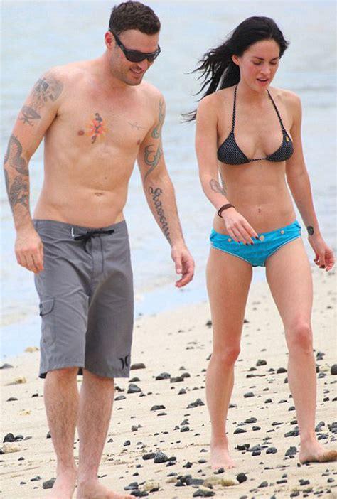 bikini clad megan fox shows   tattoo  hawaiian