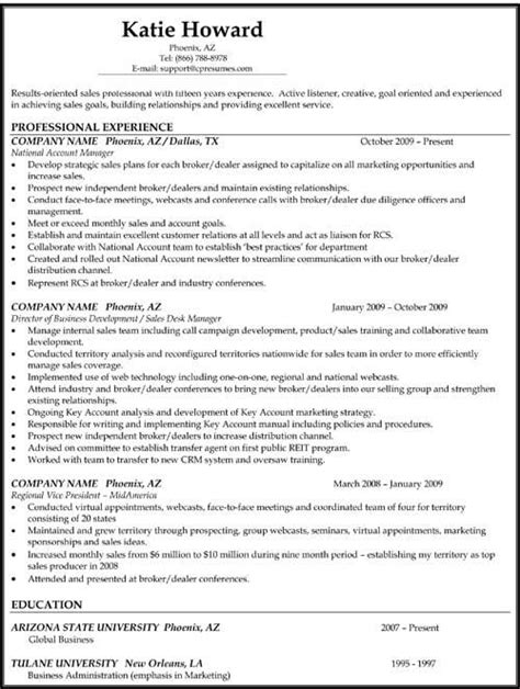 Non Chronological Resume Exle by Chronological Resume Format Work Sle Resume