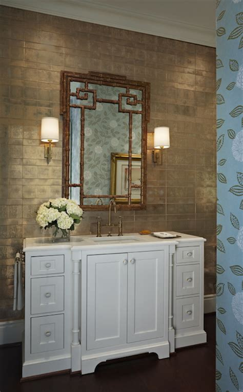 gold metallic wallpaper transitional bathroom