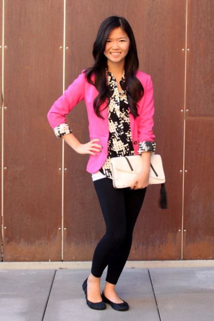 Picture Of With printed shirt black leggings black flats and white clutch