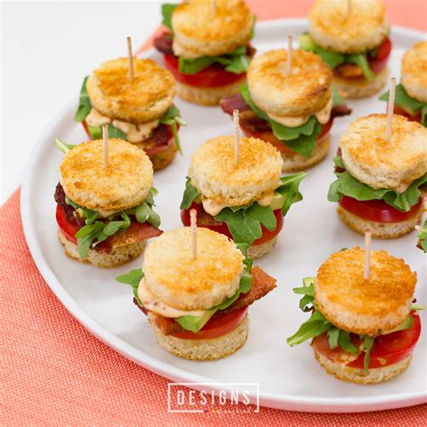 canape appetizer mini blts with avocado and chipotle mayo designs of any