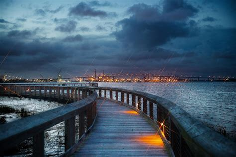 Free North Charleston Riverfront Park At Night Stock Photo