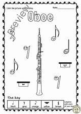 Instruments Woodwind Anastasiya Studio Sheets Trace Multimedia Worksheets Oboe Bassoon sketch template