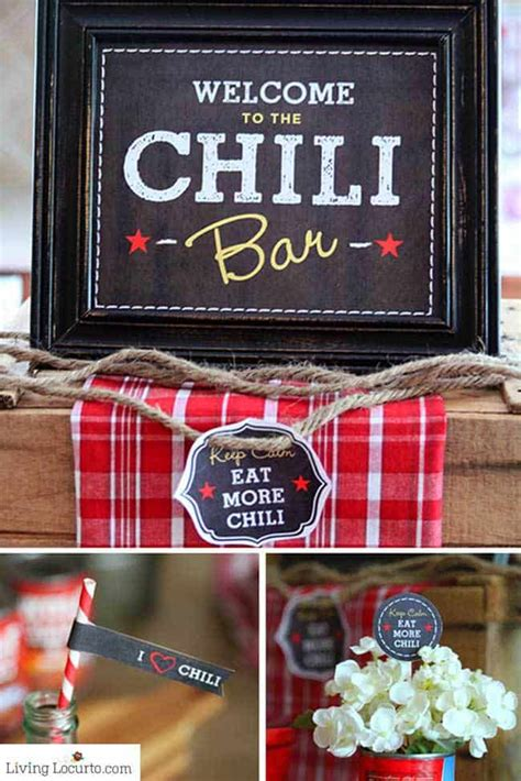 chili party dinner ideas  printables   party