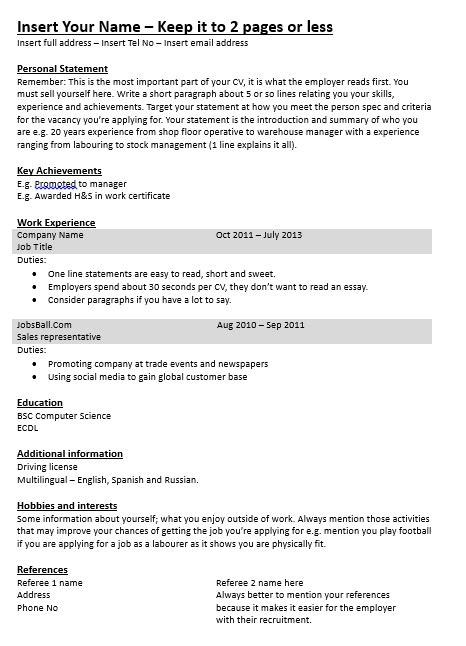 Simple Cv Exles For by Simple Cv Template Cv Made Easy Www Jobsball Co Uk