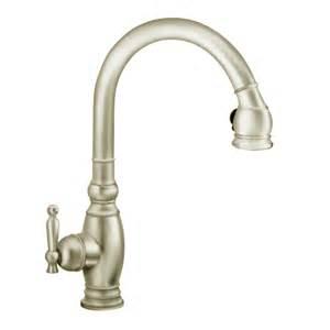 Polished Nickel Kitchen Faucet Shop Kohler Vinnata Vibrant Brushed Nickel 1 Handle Pull Kitchen Faucet At Lowes