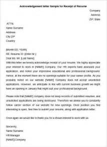 Letter Of Resume Acknowledgement by Sle Resume Project Work Acknowledgement Format