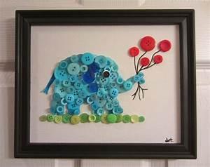 Diy button elephant wall art