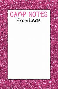 pink glitter camp notepad address labels stickers With camp address labels