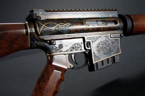 antique engraved ar  rifle  wood stock weapons