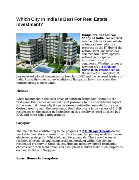 Best investment options in india for 2021. Best Real Estate Investment Options In Bangalore - Invest ...