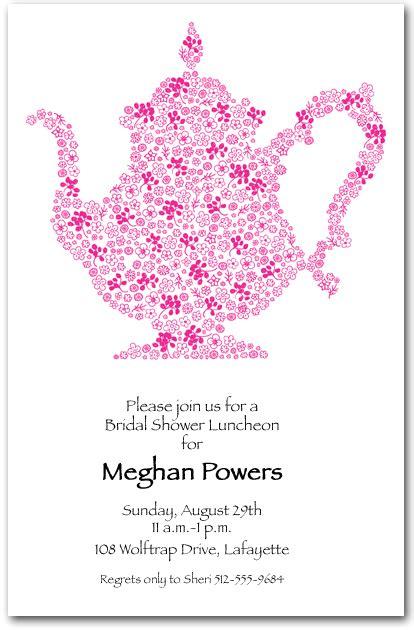 floral doodle teapot invitation