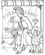 Coloring Grandparents Parents Gran Visiting Netart Printable Jazz sketch template