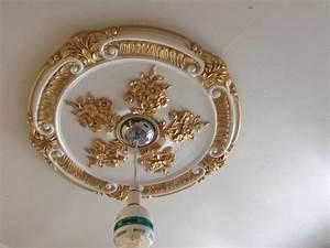 Ceiling rose Gold White Beautiful Ornate Home Decor 52cm
