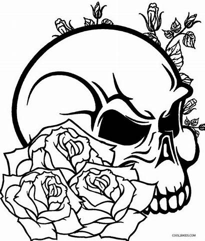 Coloring Skull Pages Printable Sugar Easy Popular