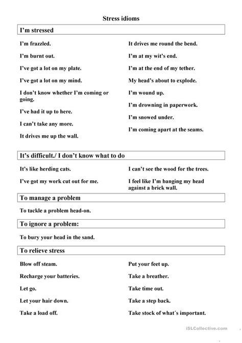 stress management idioms worksheet  esl printable