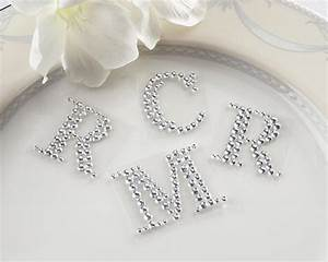 24 crystal rhinestone monogram letters w clear sticker With clear letter stickers