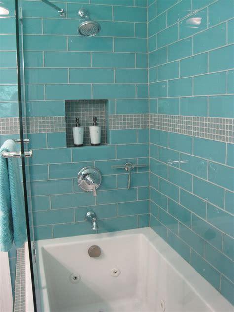 aqua glass    subway tile   bathrooms