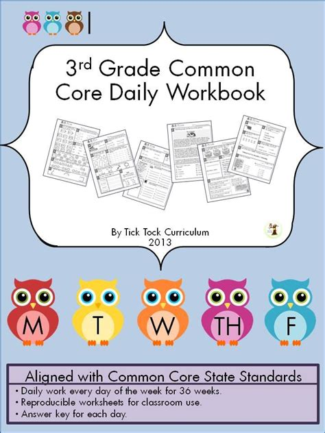 3rd Grade Common Core Daily Workbook That Has 180 Pages With Answer Keys For Each Day Of School