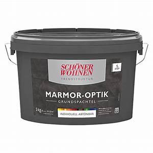 Marmor Optik Wand : sch ner wohnen grundspachtel trendstruktur 5 kg marmor optik grundfarbe zum abt nen matt ~ Frokenaadalensverden.com Haus und Dekorationen