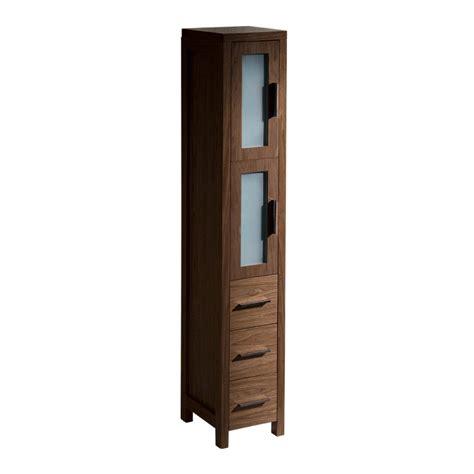 bathroom linen side cabinet fresca torino walnut brown tall bathroom linen side