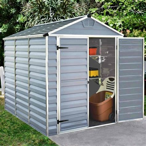 6x8 Plastic Storage Shed by Palram Skylight Plastic Anthracite Apex Shed 6x8 Garden