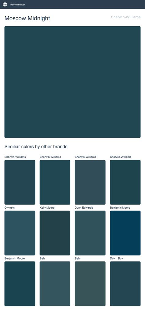 moscow midnight sherwin williams dupes from other brands