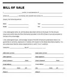 Bill Of Sales Exle by 21 Free Bill Of Sale Template Word Excel Formats