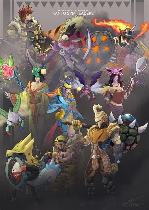 Mh X Pokemon Kanto Gym Leaders By Shawnnl On Deviantart