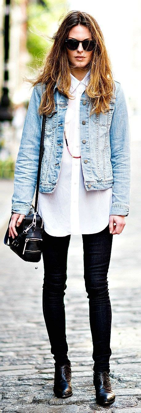 Stylish outfits tight jeans long white shirt and blue jeans jacket | elfsacks | Fashion ...